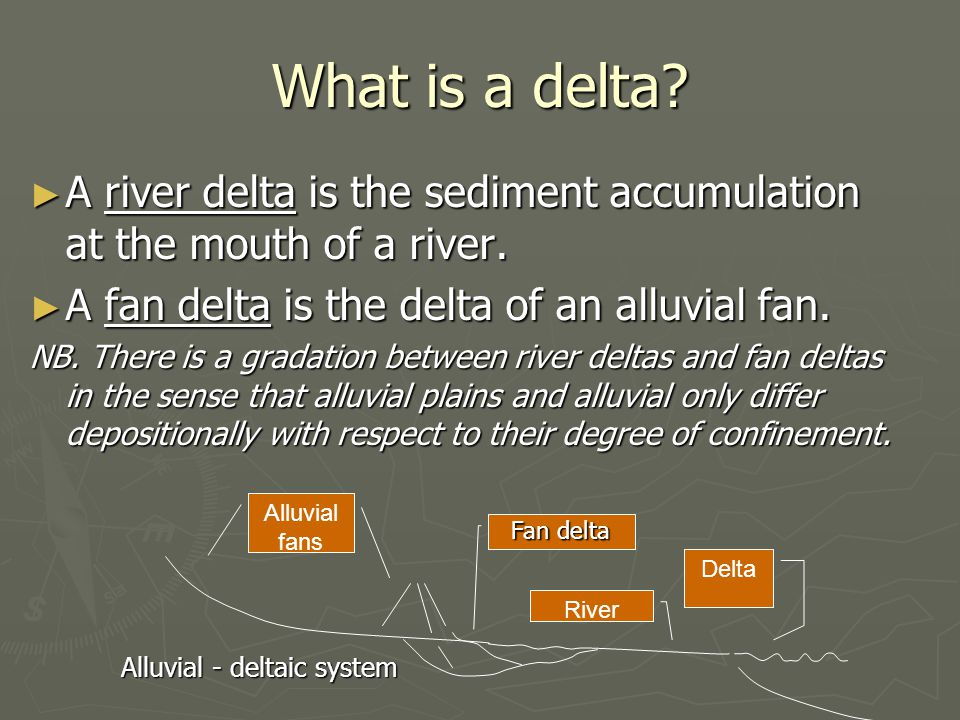What is a delta A river delta is the sediment accumulation at the mouth of a river. A fan delta is the delta of an alluvial fan.