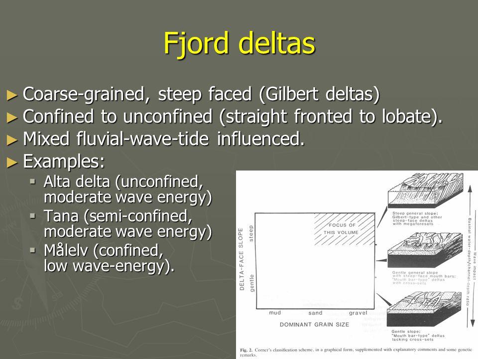 Fjord deltas Coarse-grained, steep faced (Gilbert deltas)