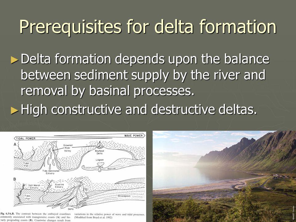 Prerequisites for delta formation