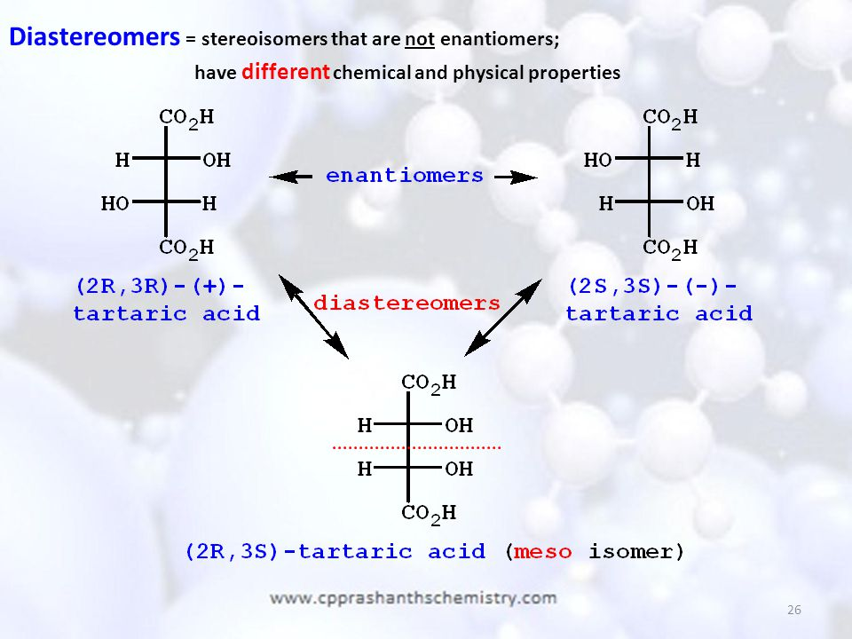 Diastereomers = stereoisomers that are not enantiomers;