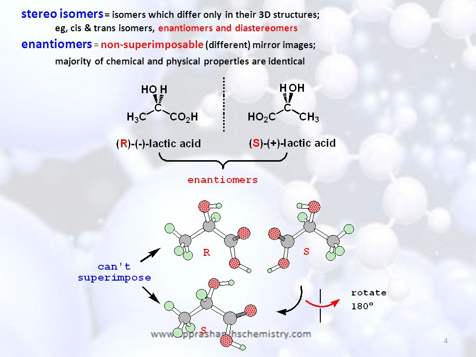 stereo isomers = isomers which differ only in their 3D structures;