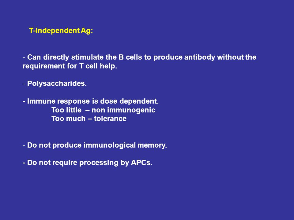 T-independent Ag: Can directly stimulate the B cells to produce antibody without the requirement for T cell help.