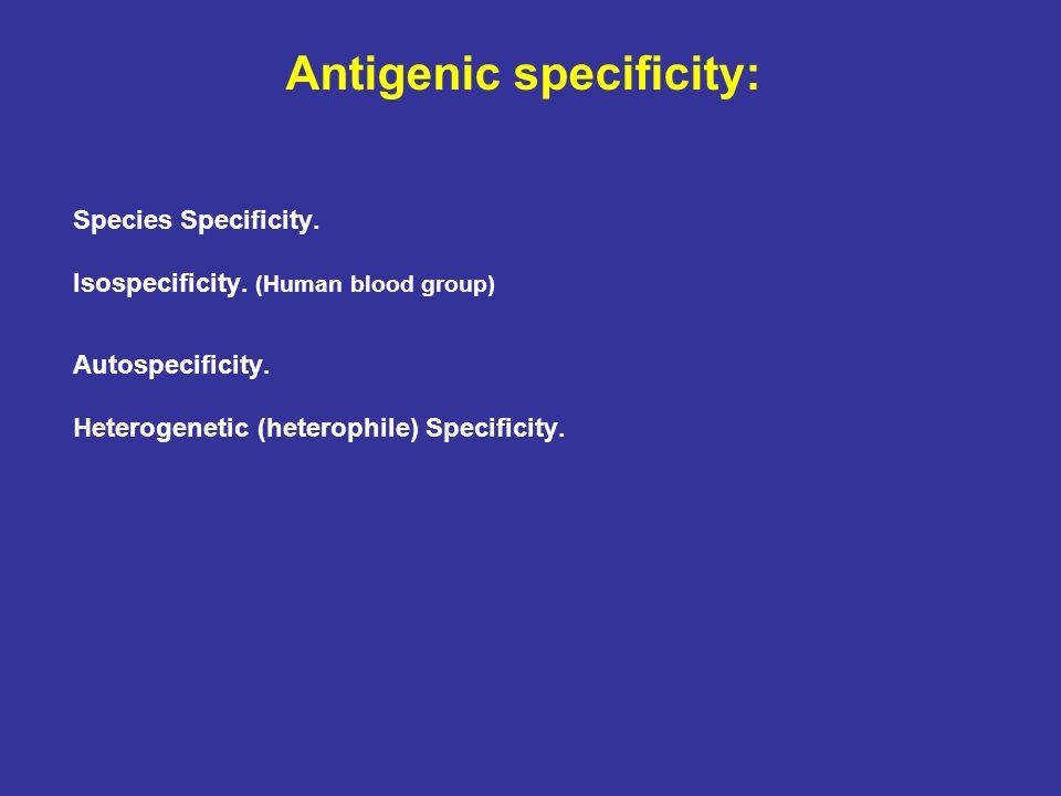 Antigenic specificity: