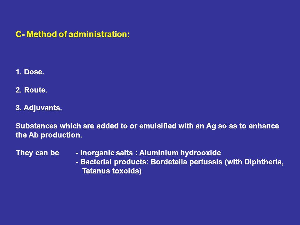 C- Method of administration: