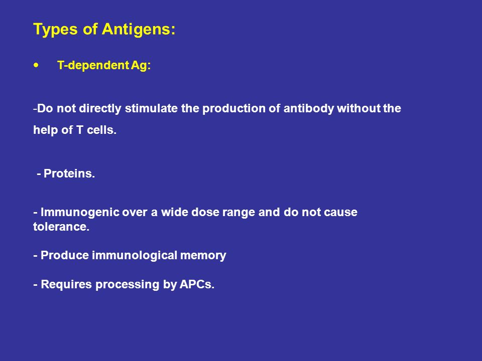 Types of Antigens: T-dependent Ag: