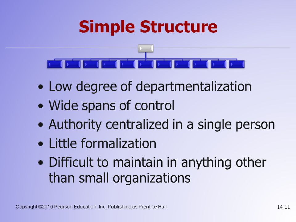 Simple Structure Low degree of departmentalization