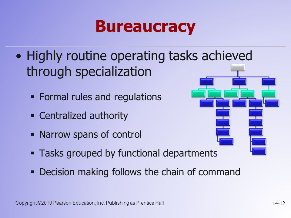 Bureaucracy Highly routine operating tasks achieved through specialization. Formal rules and regulations.