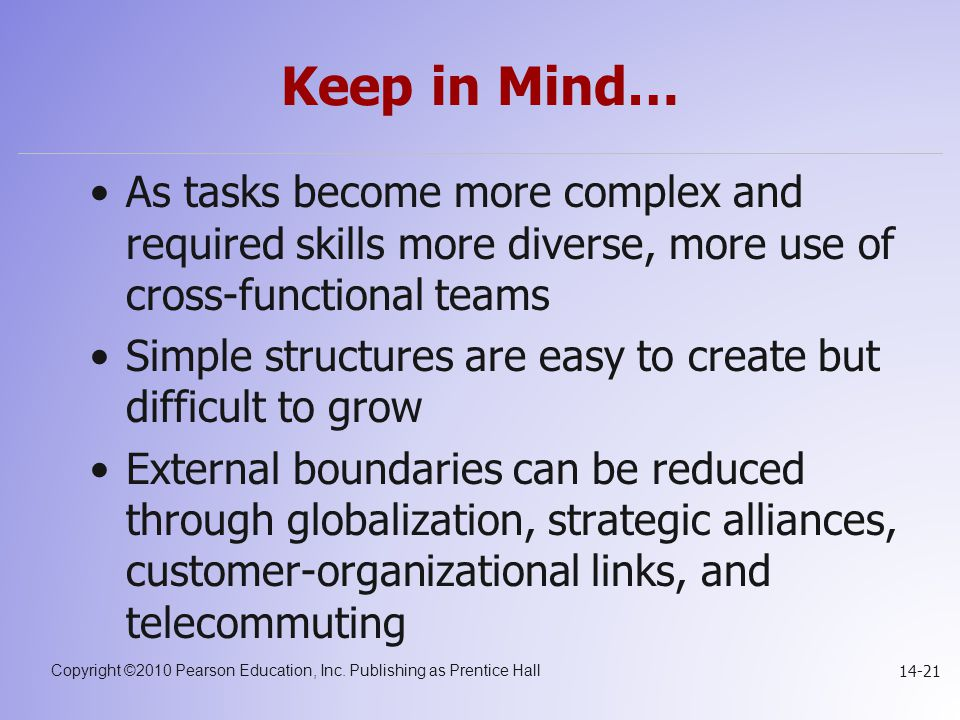 Keep in Mind… As tasks become more complex and required skills more diverse, more use of cross-functional teams.