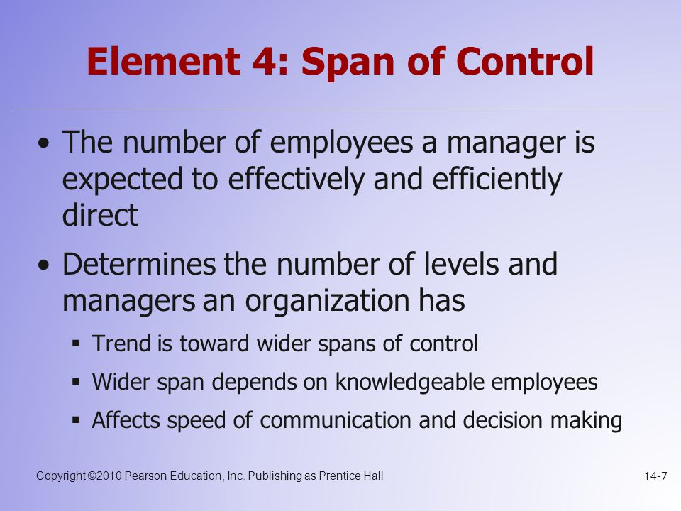 Element 4: Span of Control