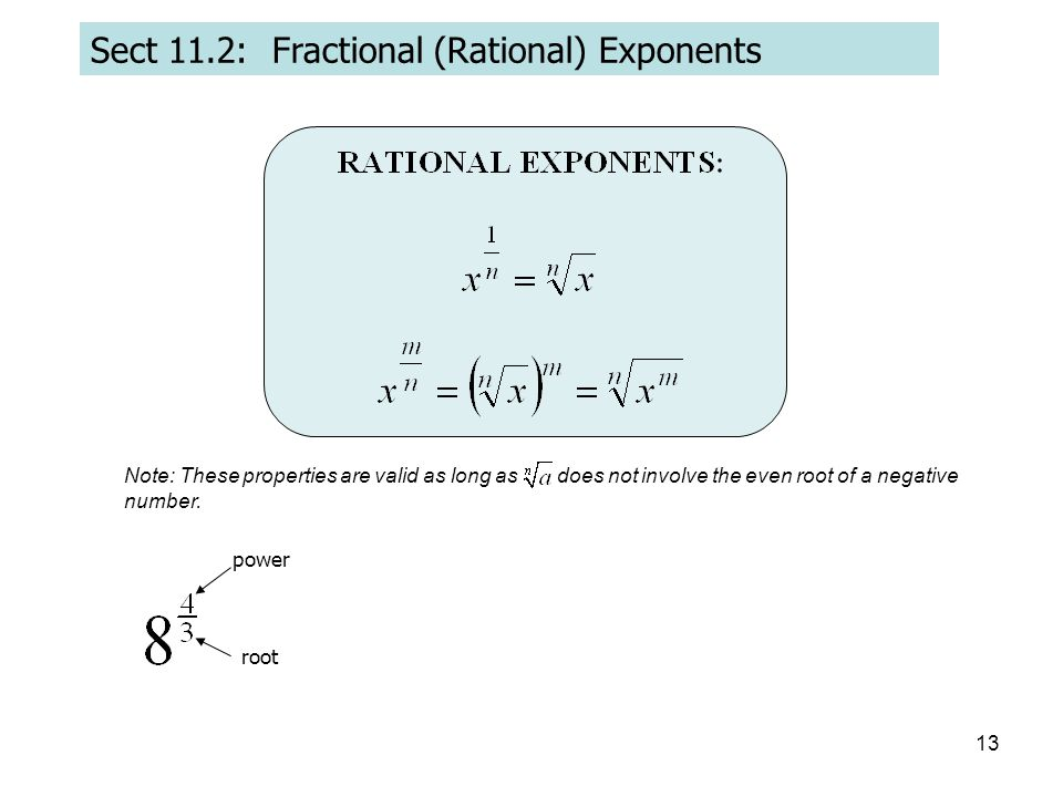 Sect 11.2: Fractional (Rational) Exponents