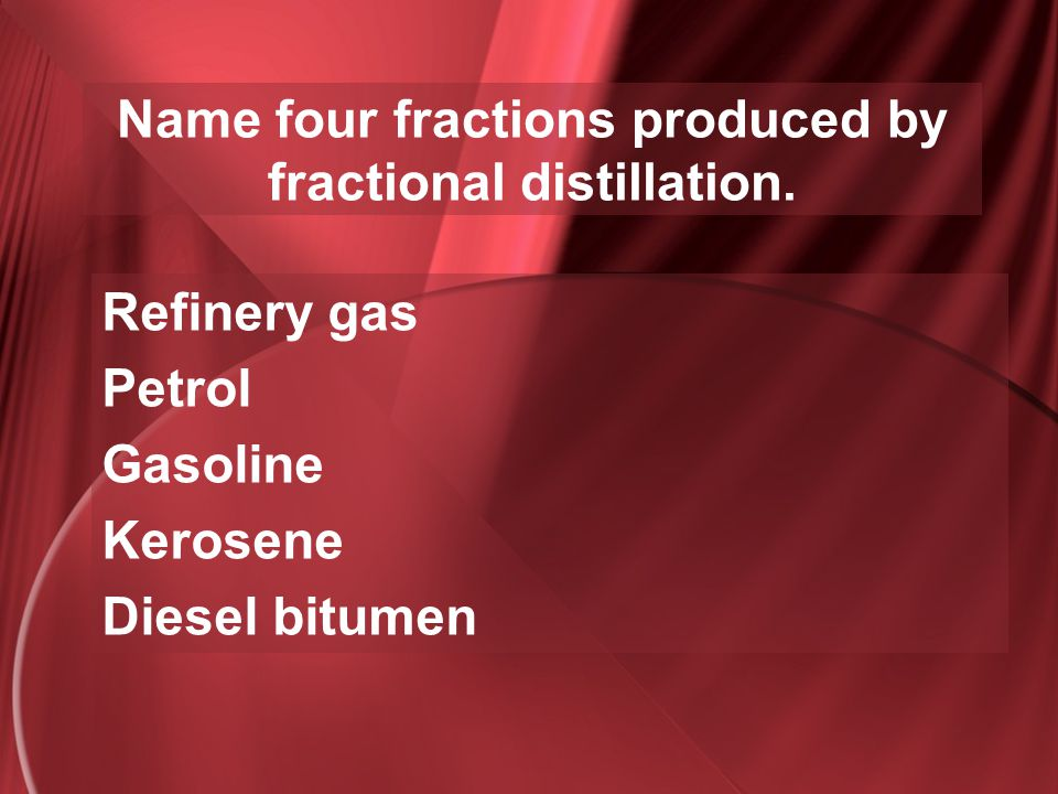 Name four fractions produced by fractional distillation.