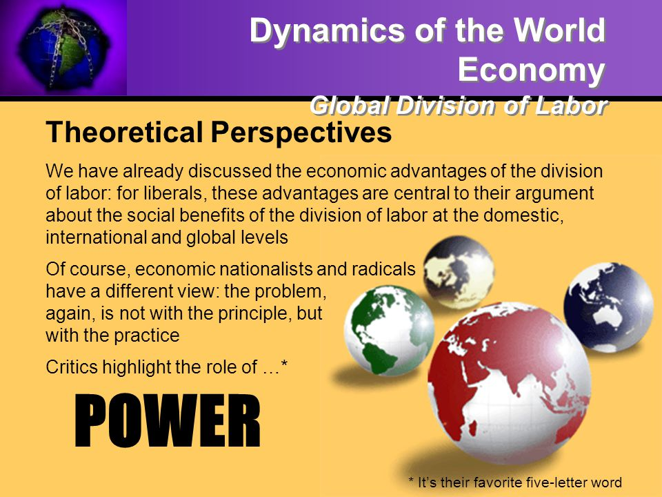 POWER Dynamics of the World Economy Global Division of Labor