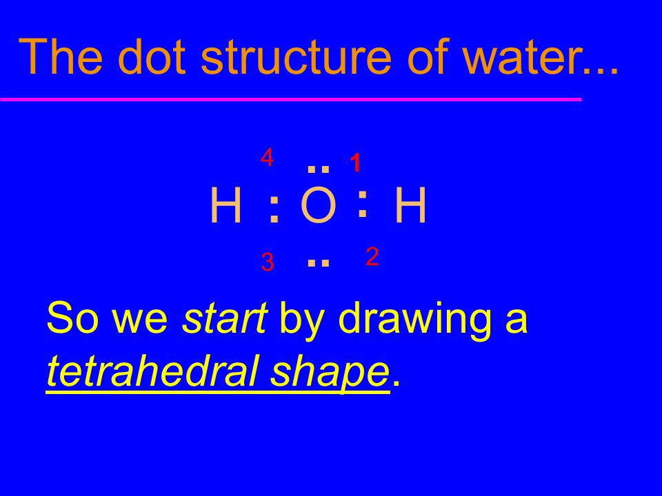 The dot structure of water...