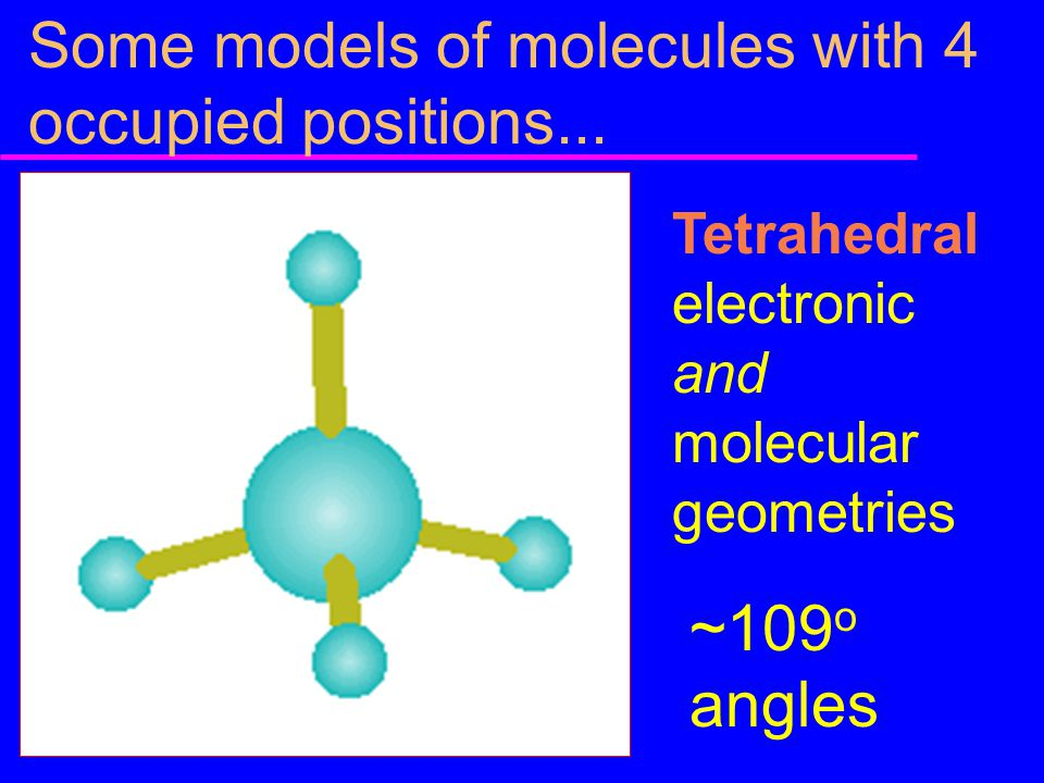 Some models of molecules with 4 occupied positions...