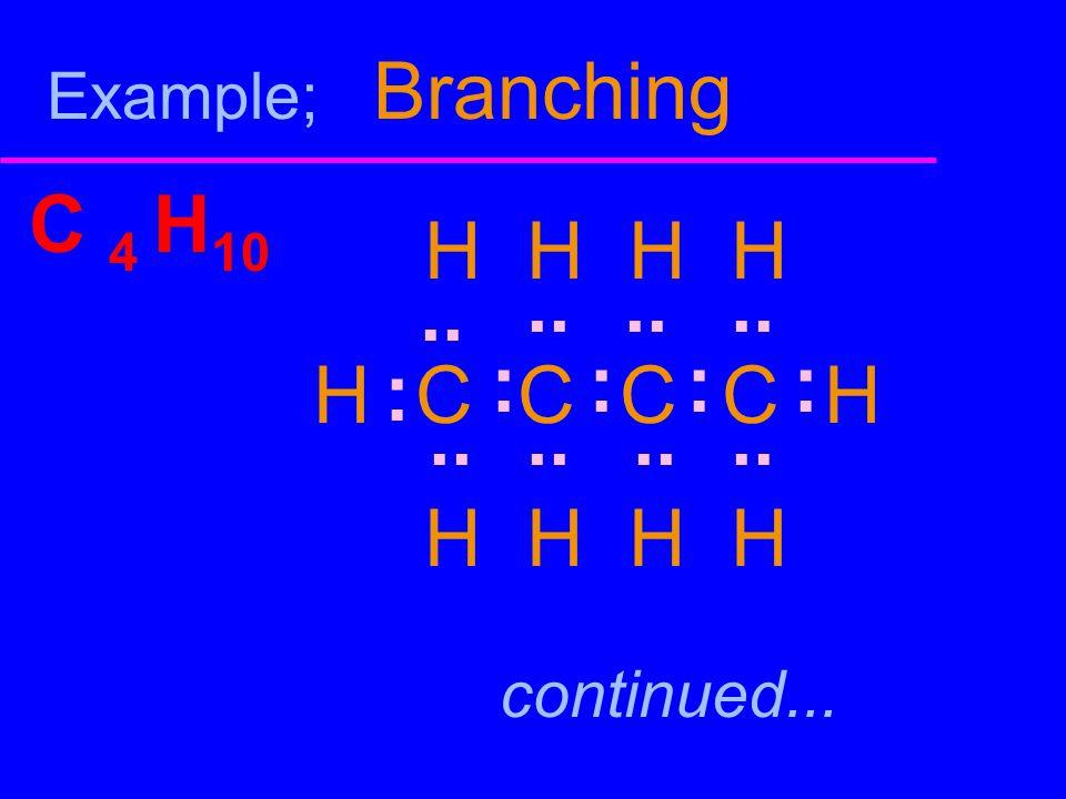 Example; Branching C 4 H10. H H H H. H C C C C H. .. .. .. .. : : : : : .. ..
