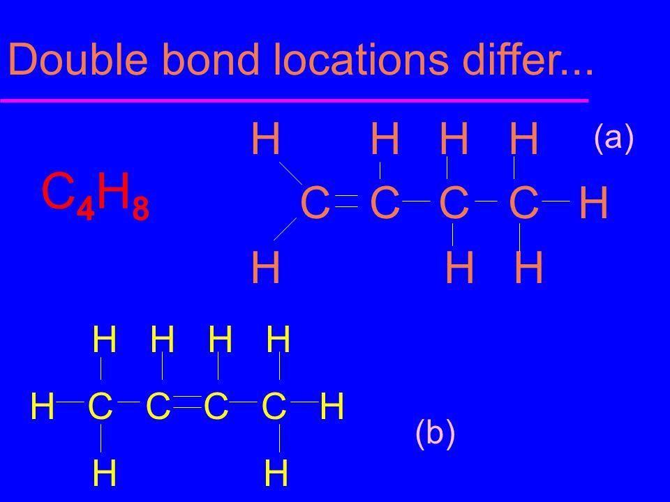 C4H8 Double bond locations differ... H H H H C C C C H H H H H H H H