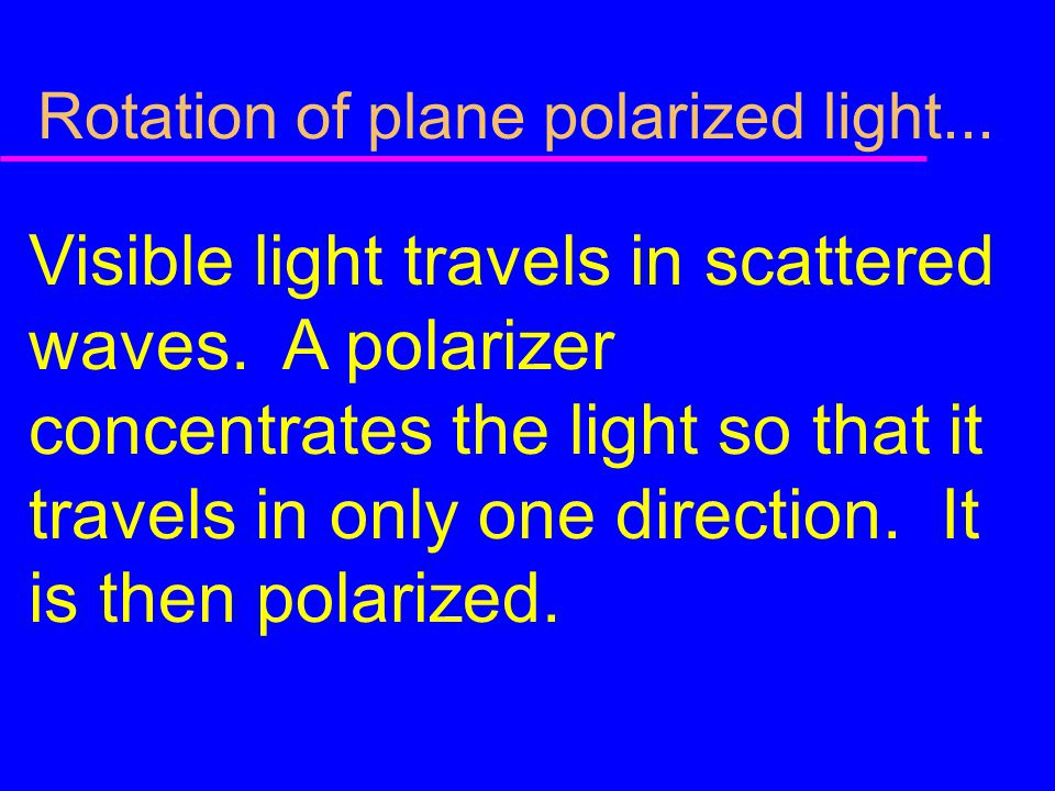 Rotation of plane polarized light...