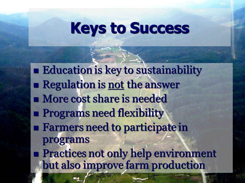 Keys to Success Education is key to sustainability