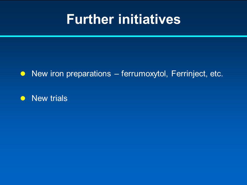 Further initiatives New iron preparations – ferrumoxytol, Ferrinject, etc. New trials 2