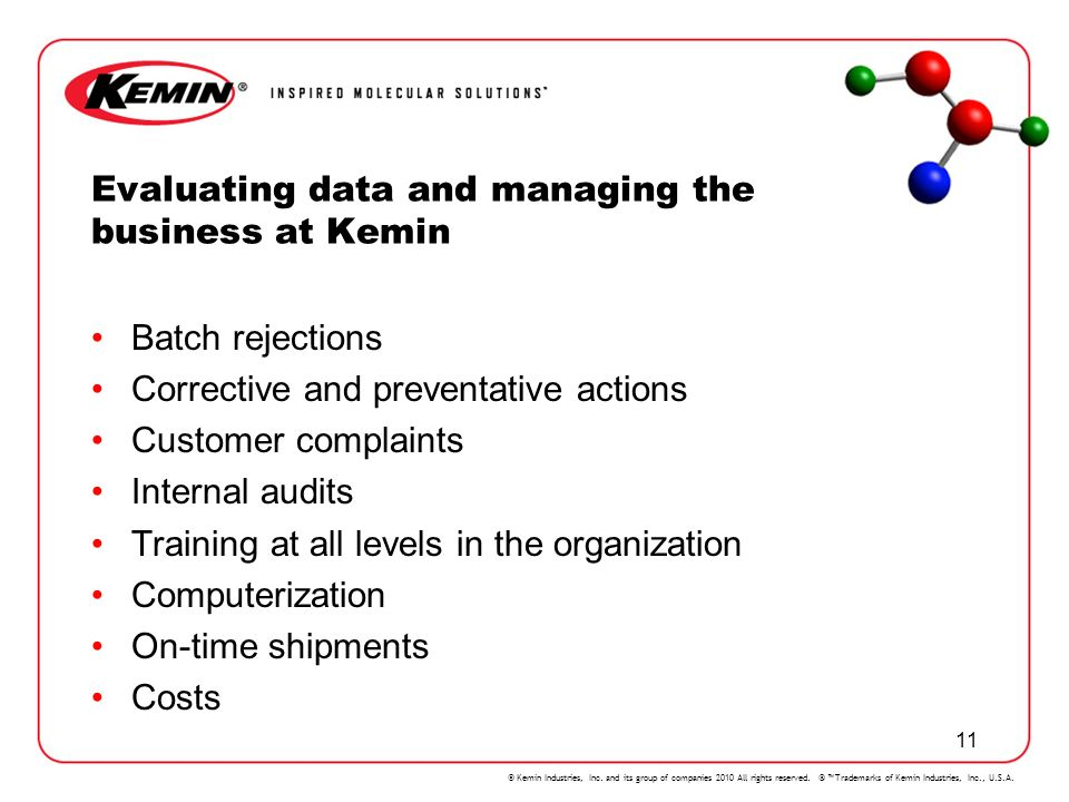 Evaluating data and managing the business at Kemin