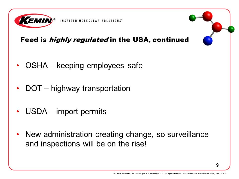 Feed is highly regulated in the USA, continued