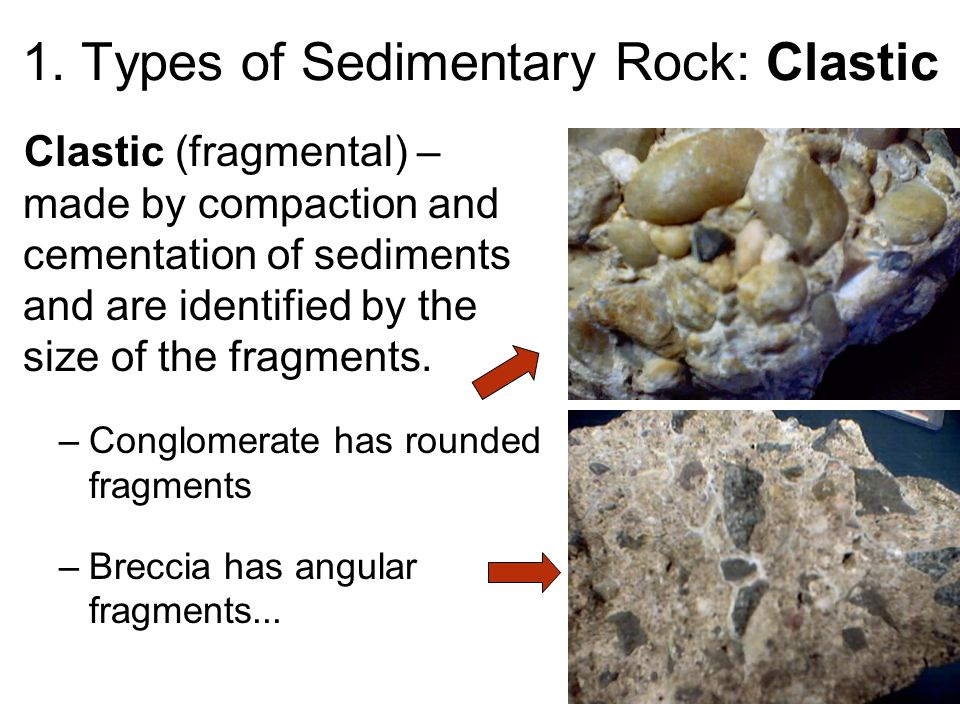 1. Types of Sedimentary Rock: Clastic