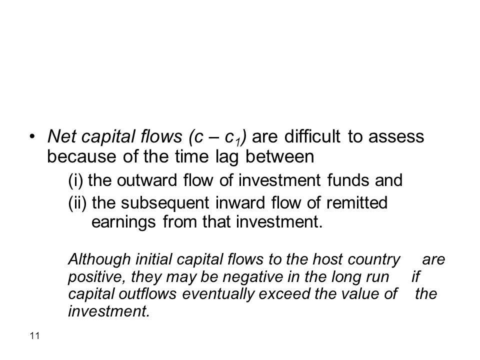 Net capital flows (c – c1) are difficult to assess because of the time lag between