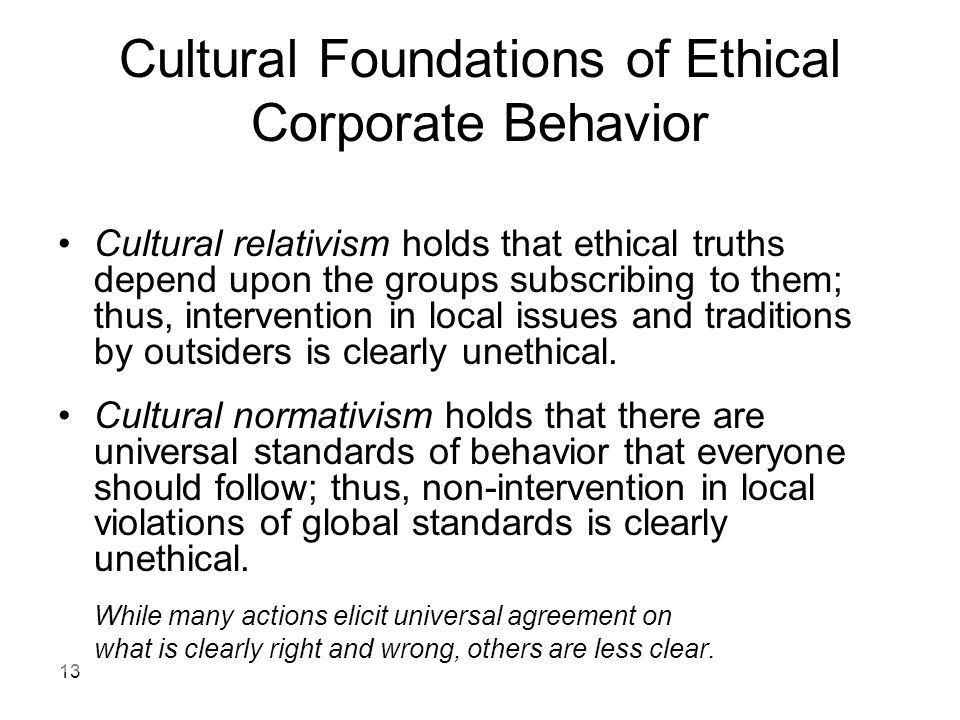 Cultural Foundations of Ethical Corporate Behavior