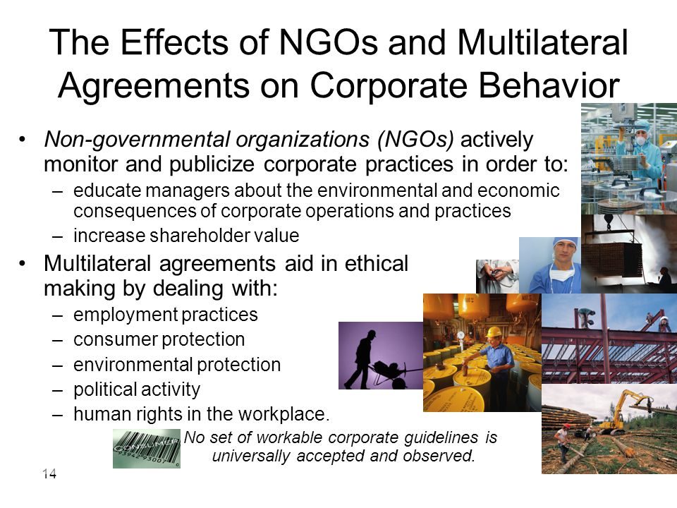 The Effects of NGOs and Multilateral Agreements on Corporate Behavior