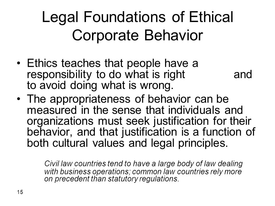 Legal Foundations of Ethical Corporate Behavior