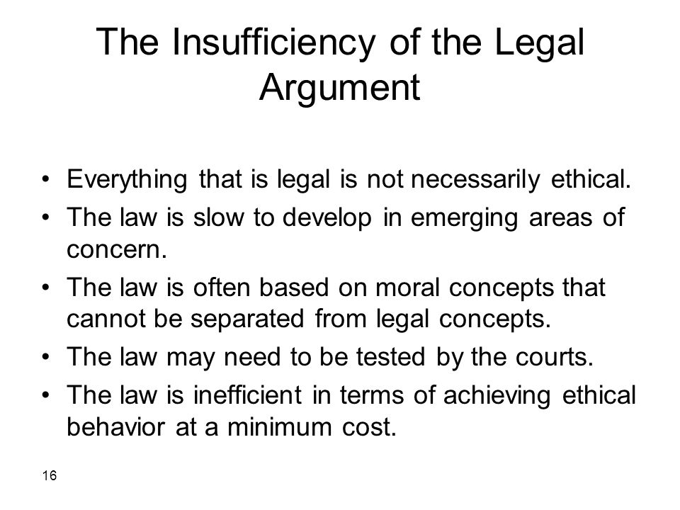 The Insufficiency of the Legal Argument