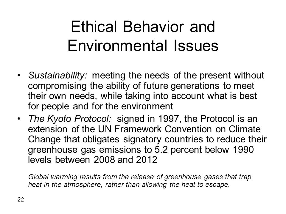 Ethical Behavior and Environmental Issues
