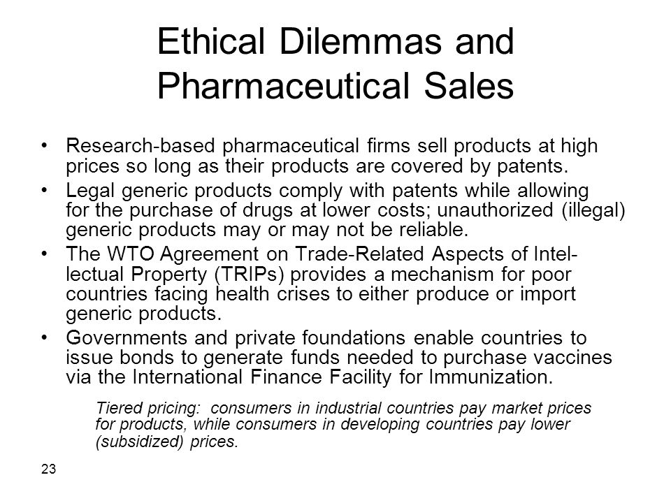 Ethical Dilemmas and Pharmaceutical Sales