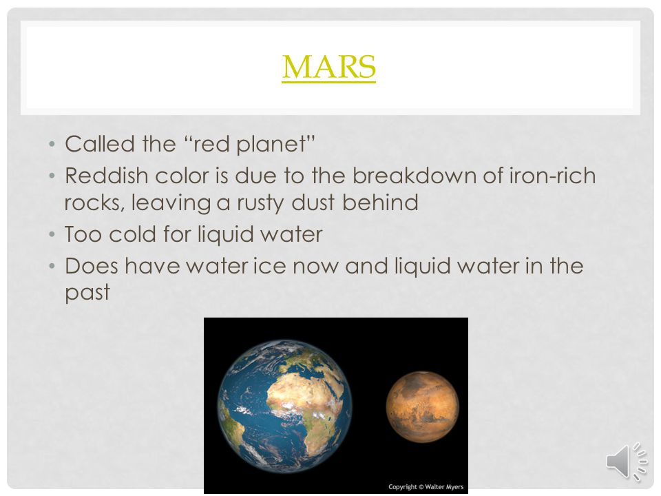 Mars Called the red planet