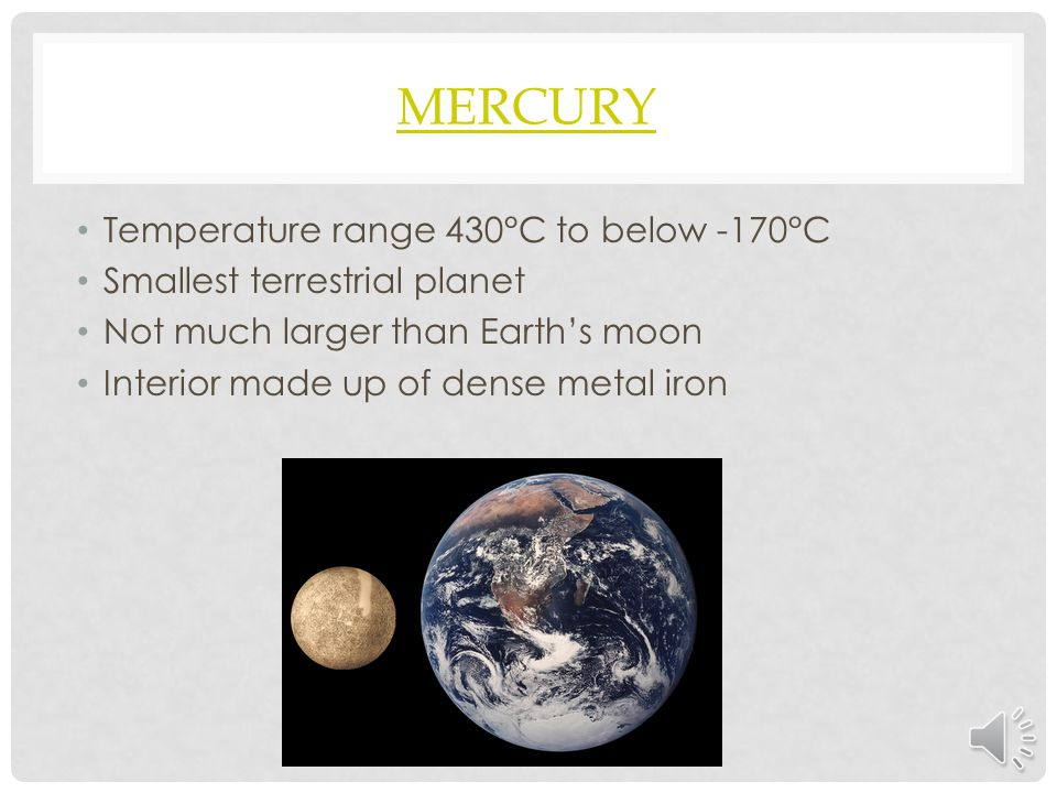 Mercury Temperature range 430°C to below -170°C