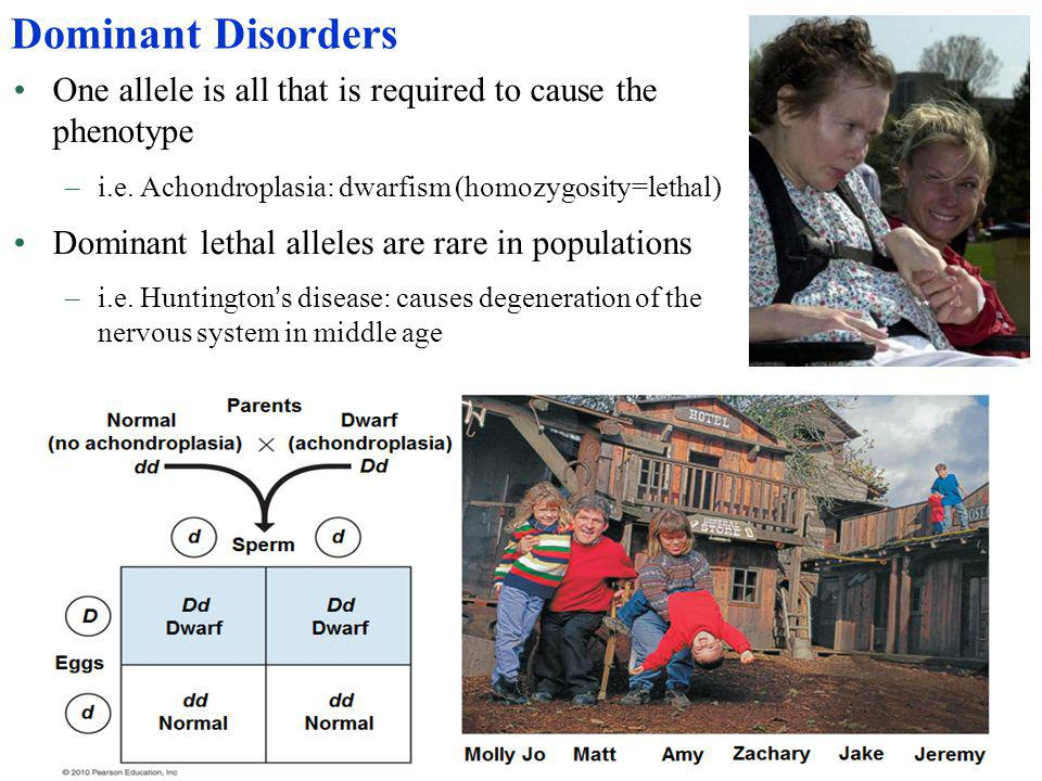 Dominant Disorders One allele is all that is required to cause the phenotype. i.e. Achondroplasia: dwarfism (homozygosity=lethal)