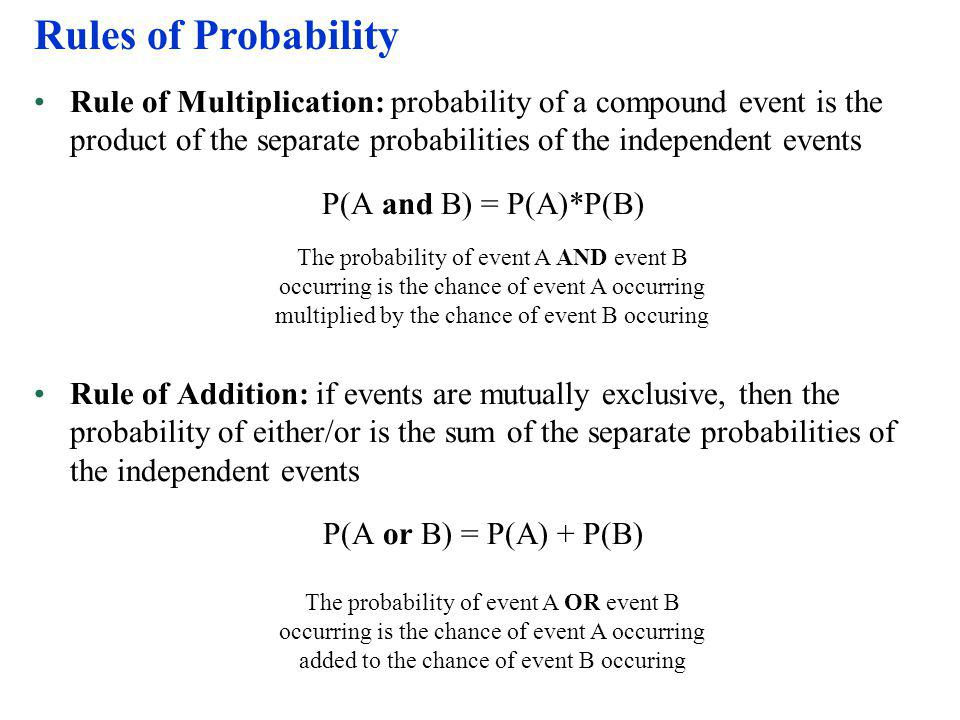 Rules of Probability Rule of Multiplication: probability of a compound event is the product of the separate probabilities of the independent events.