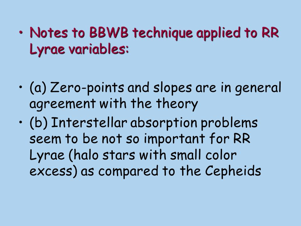 Notes to BBWB technique applied to RR Lyrae variables:
