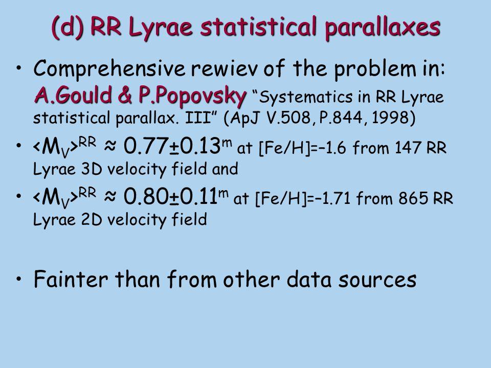 (d) RR Lyrae statistical parallaxes