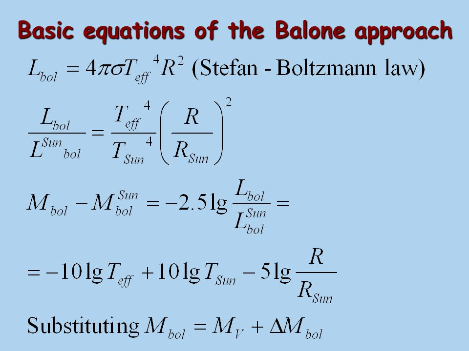 Basic equations of the Balone approach