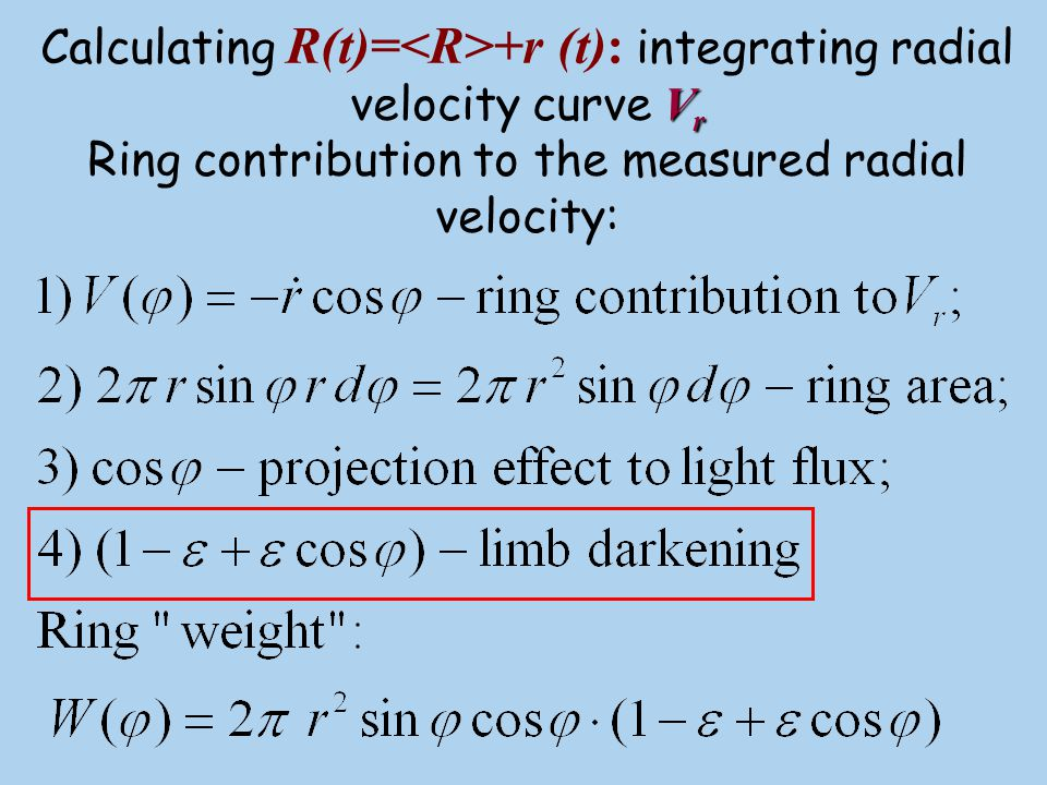 Calculating R(t)=<R>+r (t): integrating radial velocity curve Vr Ring contribution to the measured radial velocity: