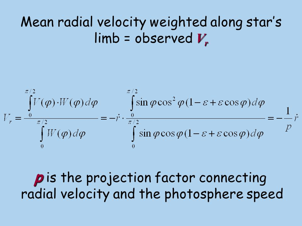 Mean radial velocity weighted along star's limb = observed Vr