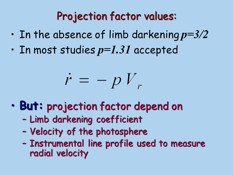 Projection factor values: