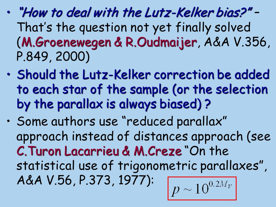 How to deal with the Lutz-Kelker bias