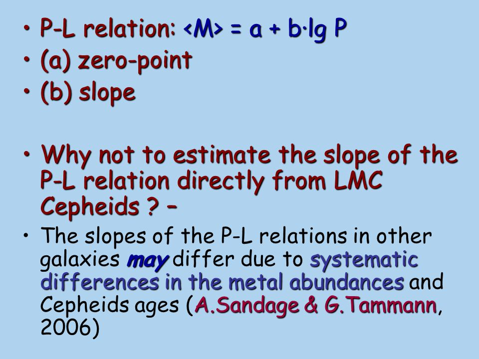 P-L relation: <M> = a + b·lg P (a) zero-point (b) slope