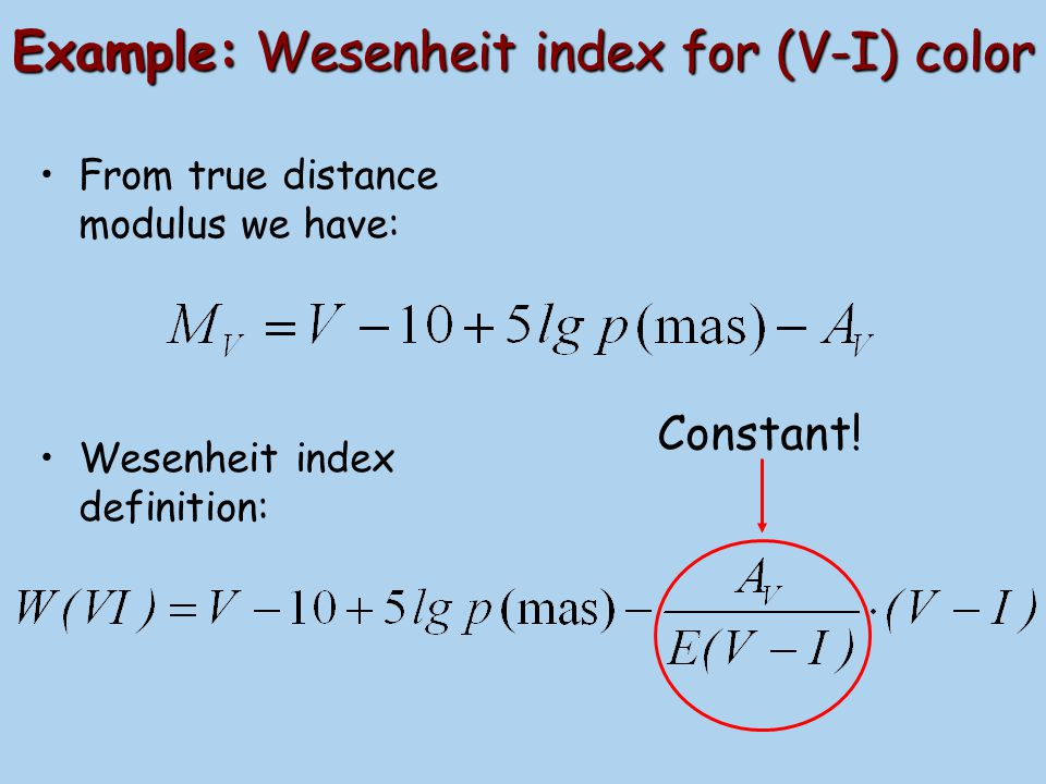 Example: Wesenheit index for (V-I) color
