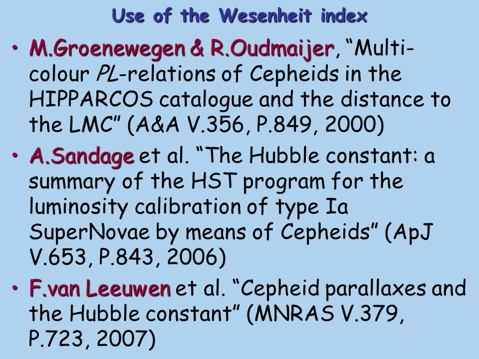 Use of the Wesenheit index
