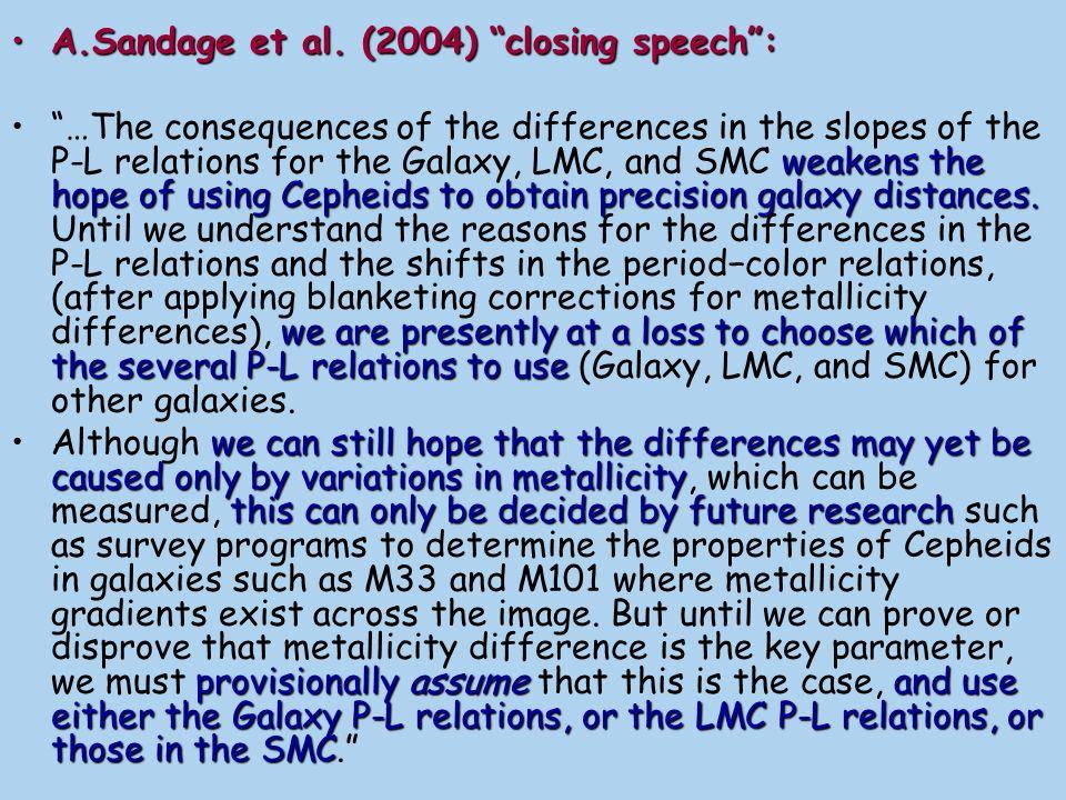 A.Sandage et al. (2004) closing speech :