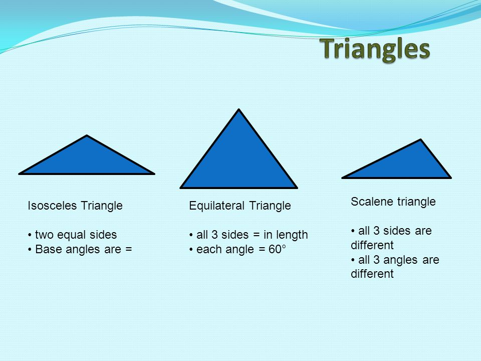 Triangles Scalene triangle all 3 sides are different