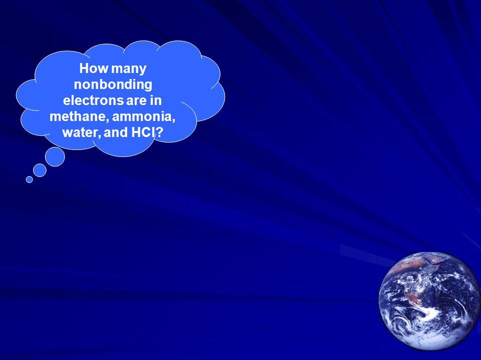 How many nonbonding electrons are in methane, ammonia, water, and HCl